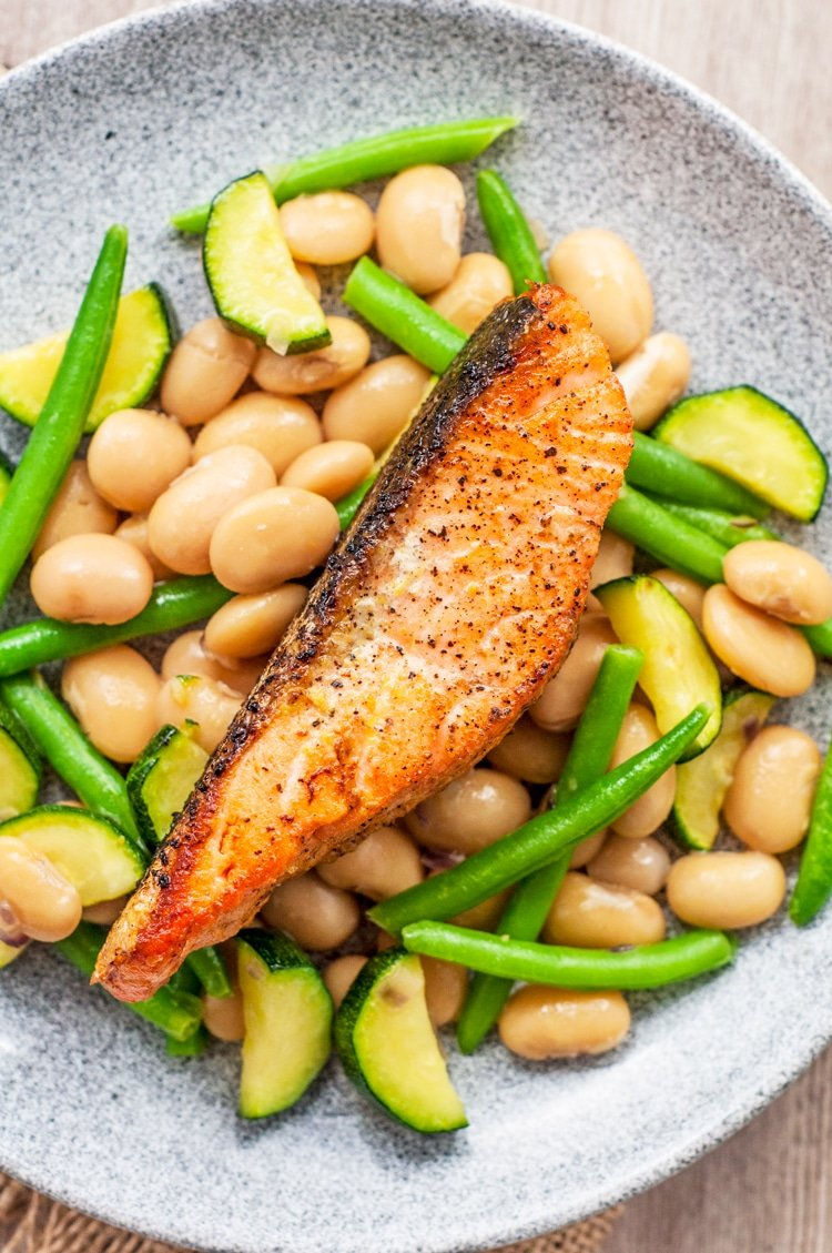 Serve this delicious broiled lemon salmon over a warm butter bean and green bean salad