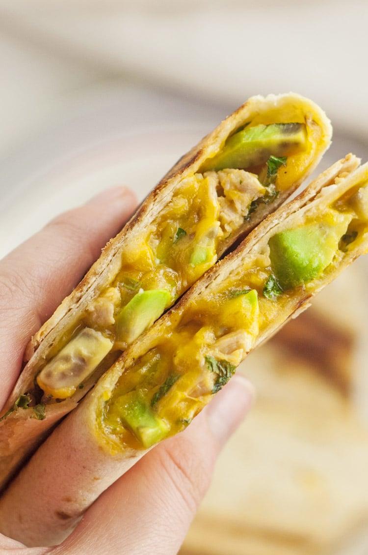 Cheesy Chicken Avocado Burrito Wrap