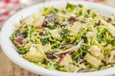 Crunchy Kale and Brussels Sprout Salad with Creamy Dijon Dressing