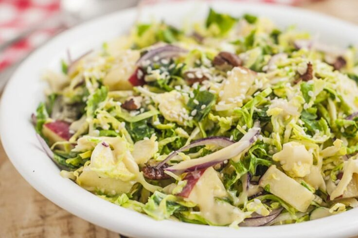 This crunchy kale salad with creamy dijon dressing is the perfect combination of flavors and textures.