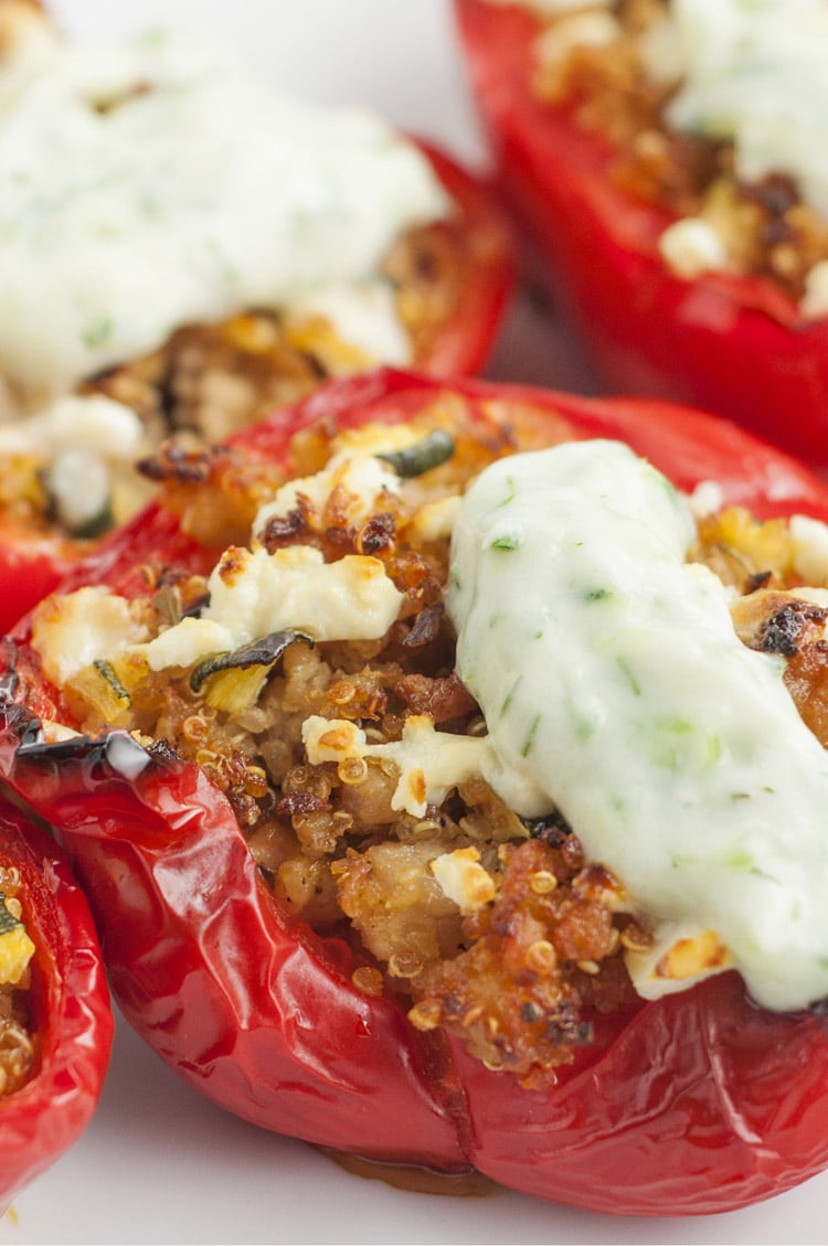 Greek Stuffed Peppers with Tzatziki Sauce