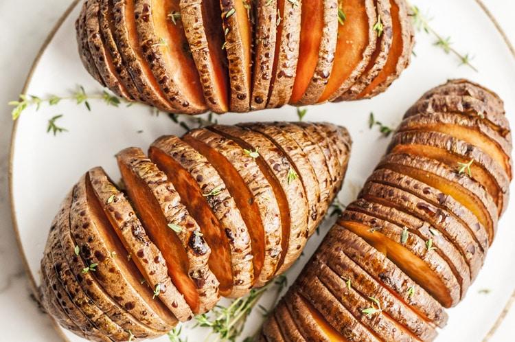 Hasselback Molasses Sweet Potatoes