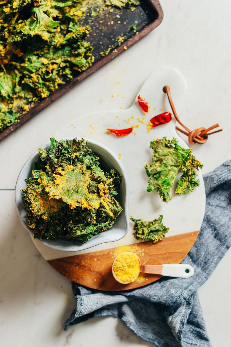 55 Healthy Summer Side Dishes - Sunflower-Coated Cheesy Kale Chips