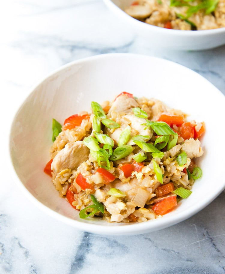 This clean-eating chicken fried rice recipe is the perfect healthy version of your favorite take-out food.