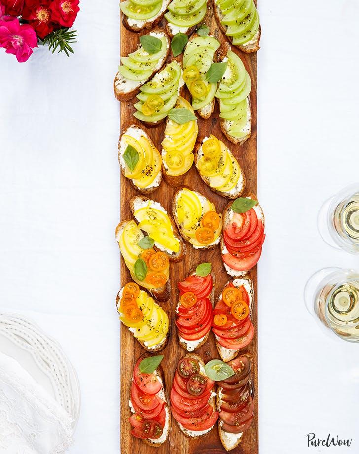 purewow no cook rainbow bruschetta