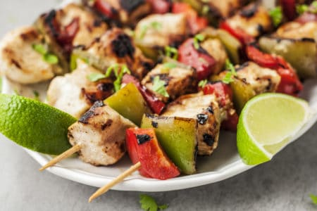 Grilled Honey Lime Cilantro Chicken Skewers