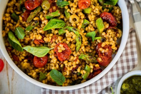 Barley Salad with Asparagus and Roasted Tomatoes