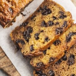 Sweet and moist chocolate chip pumpkin bread.