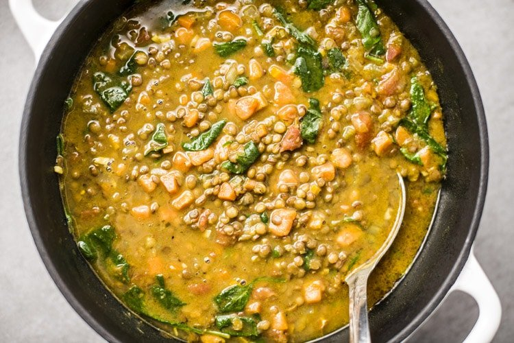 Spinach and Lentil Sweet Potato Stew