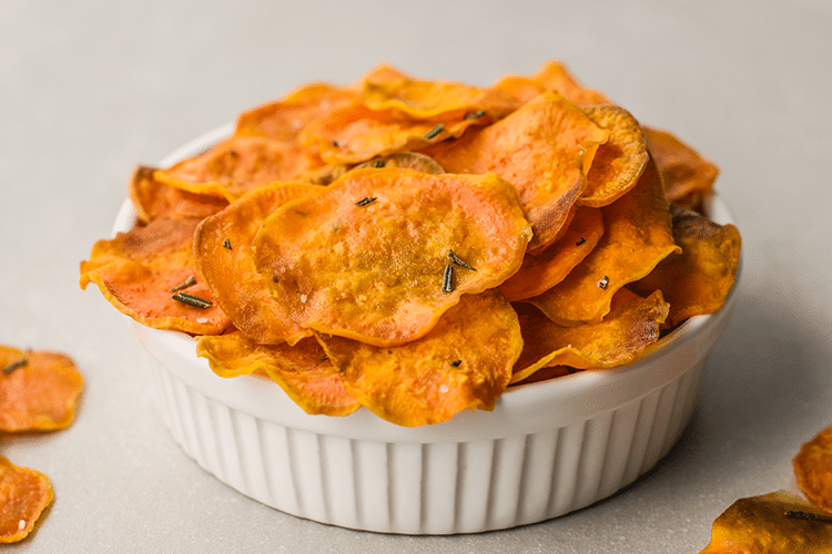 Baked Sweet Potato Chips With Rosemary And Sea Salt