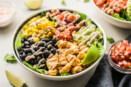 Chicken Burrito Bowl with Fresh Pico de Gallo & Creamy Chipotle Sauce