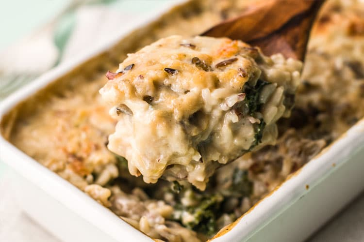 Creamy Wild Rice and Kale Casserole