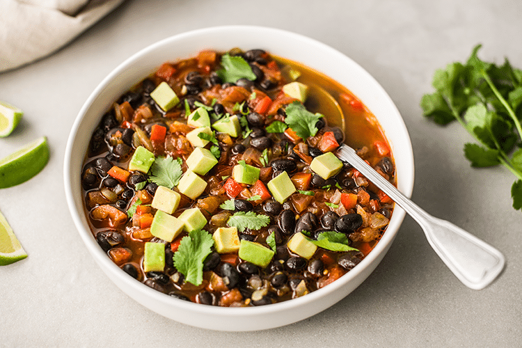 Easy Black Bean Soup with Avocado