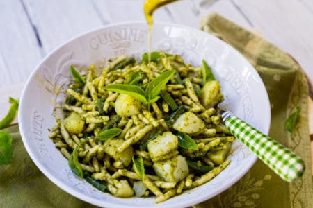 Pasta with Pesto Potatoes and French Beans