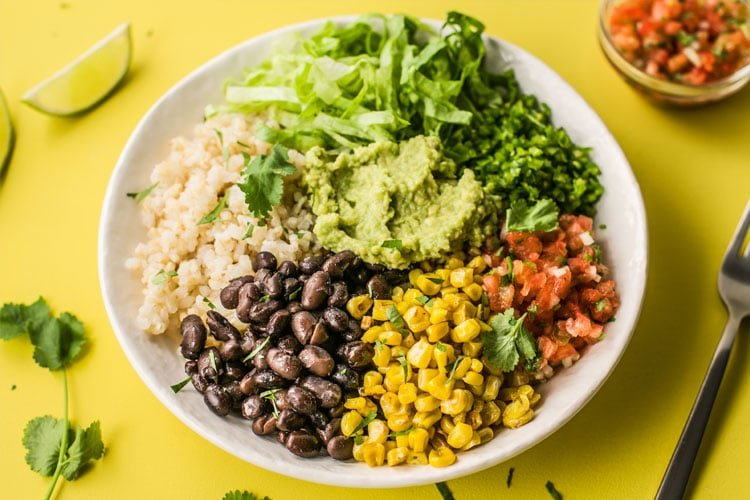 Our delicious plant based recipe burrito bowl is great for meal planning