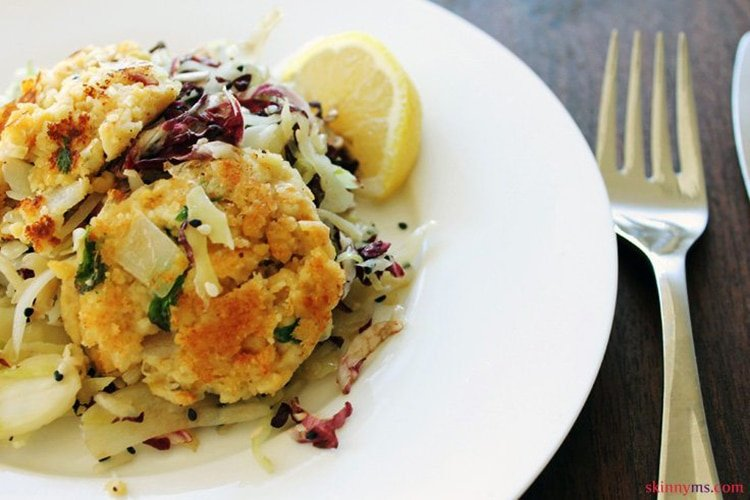Crispy Chickpea Cakes with Cabbage Salad