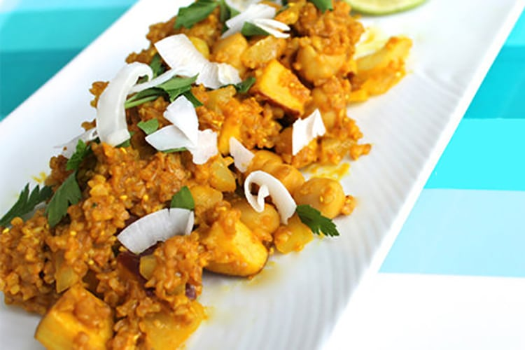 Curried Apple Couscous with Toasted Walnuts