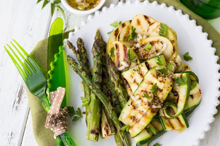 Grilled Asparagus, Green Apple, and Zucchini Salad with Mustard Vinaigrette