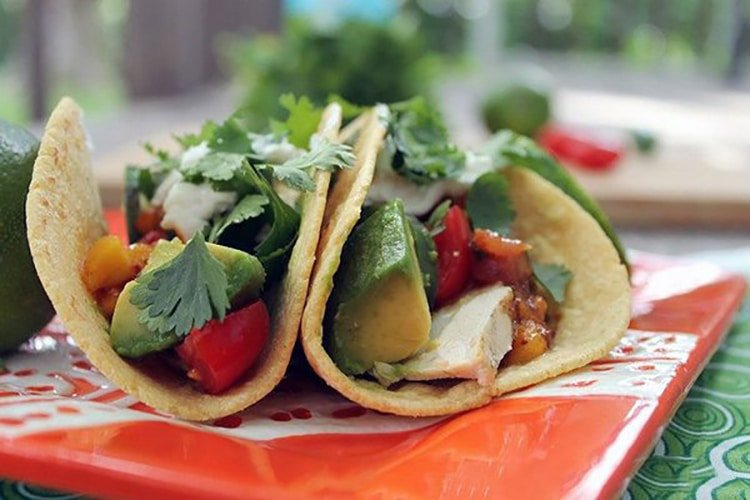 Grilled Chicken and Avocado Tacos with Cilantro Crema