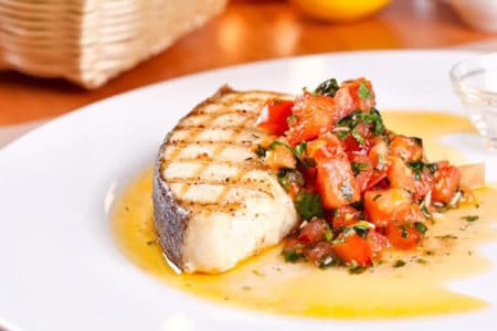 Grilled Halibut with Curry Sauce by Bobby Flay