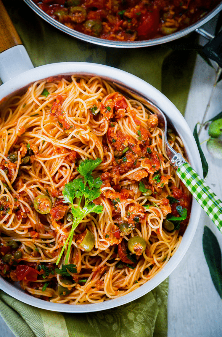 A rich pasta dish that contains all of the best Mediterranean flavors.