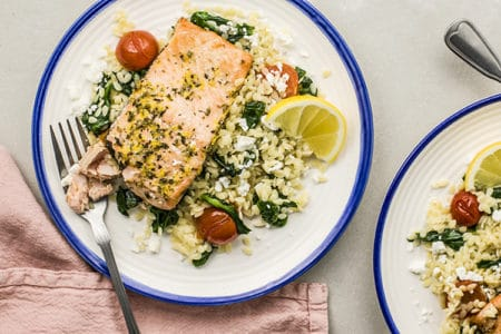 Mediterranean Greek Salmon with Orzo Recipe