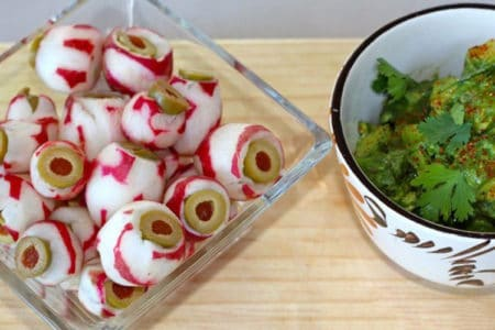 "Olive Stuffed Radish ""Eyeballs"" with Guacamole"