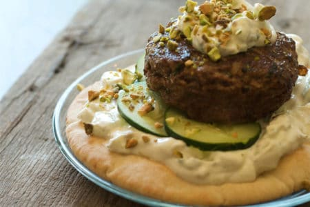 Open Faced Mediterranean Lamb Burger