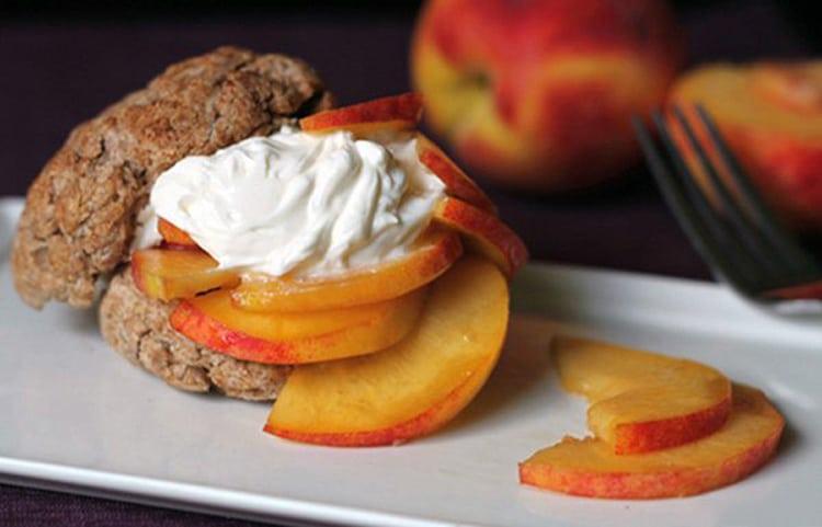 Skinny Peach Shortcake with a Honey Greek Yogurt Topping