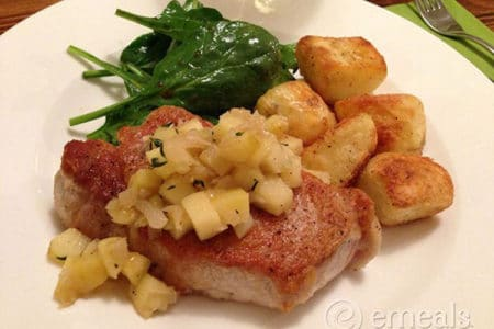 Pork Sirloin Chops with Apples and Roasted Russet Potatoes