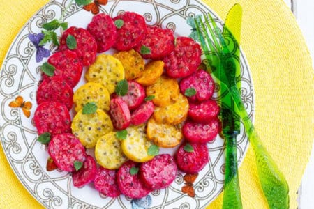 Prickly Pear Salad with Pomegranate Syrup