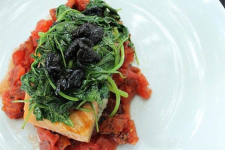 Salmon Provencal with Wilted Spinach and Olives
