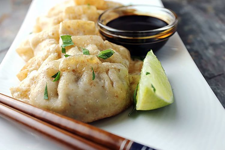 Vegetable Wontons with Honey Sesame Sauce