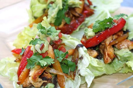 Zesty Chicken Fajitas in Lettuce