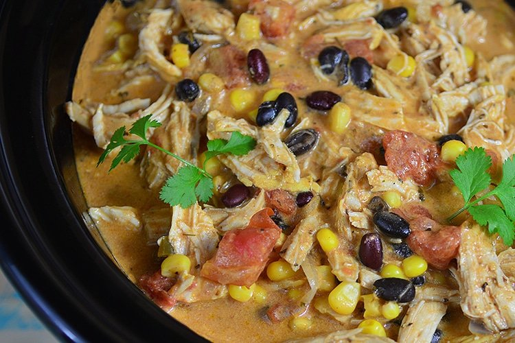 Throw all the ingredients into a crockpot and easily enjoy this yummy Slow Cooker Chicken and Black Bean Chowder