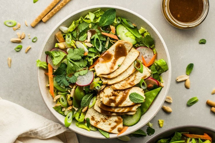 Thai Chicken Veggie Salad with Peanut Dressing