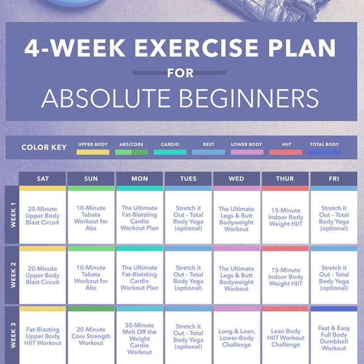 4-Week Exercise Plan for Absolute Beginners Calendar Download