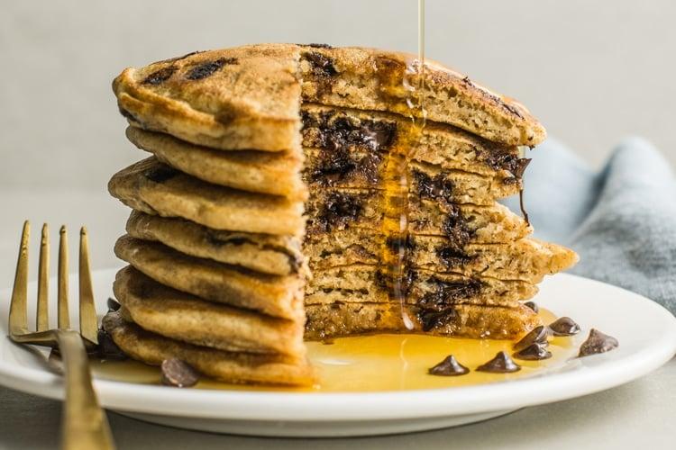 Chocolate Chip Vegan Pancakes