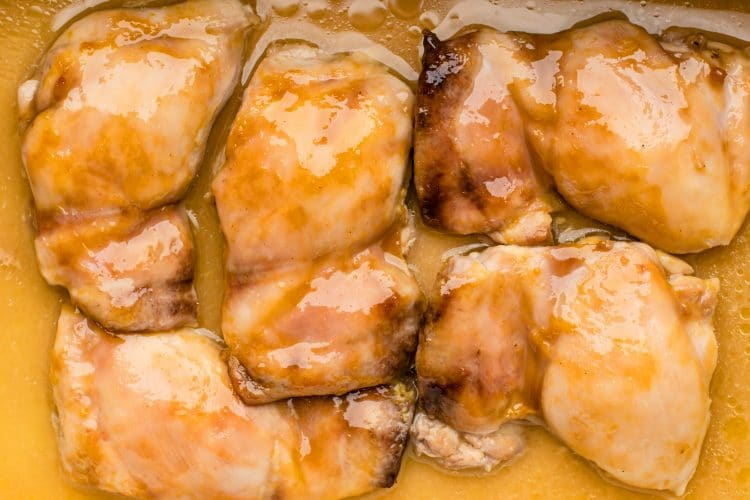 These maple mustard chicken thighs are an easy and budget-friendly dinner.