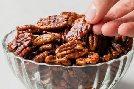 Roasted Spicy Maple Pecans