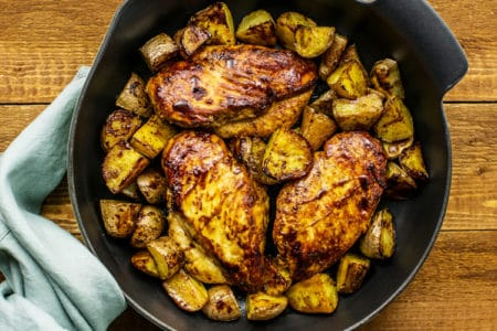 Skillet Balsamic Glazed Chicken and Potatoes | One-Pot Recipes