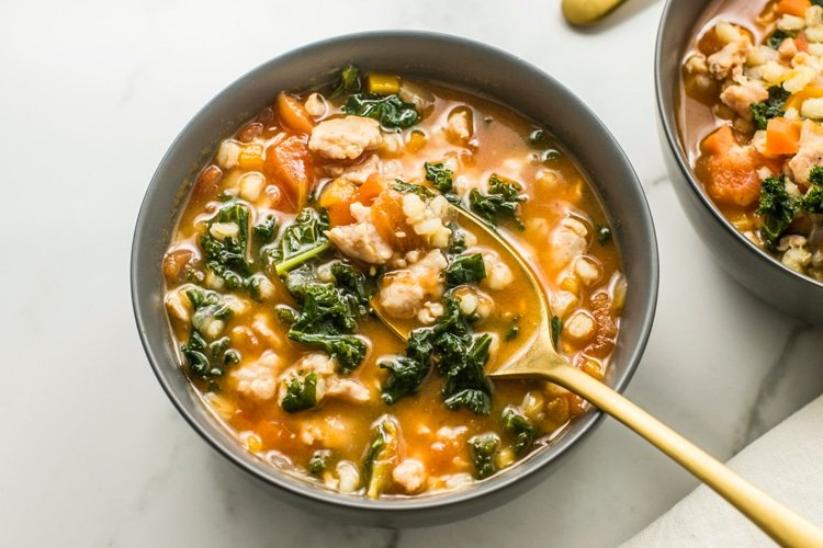 Slow Cooker Turkey Sausage with Barley Soup