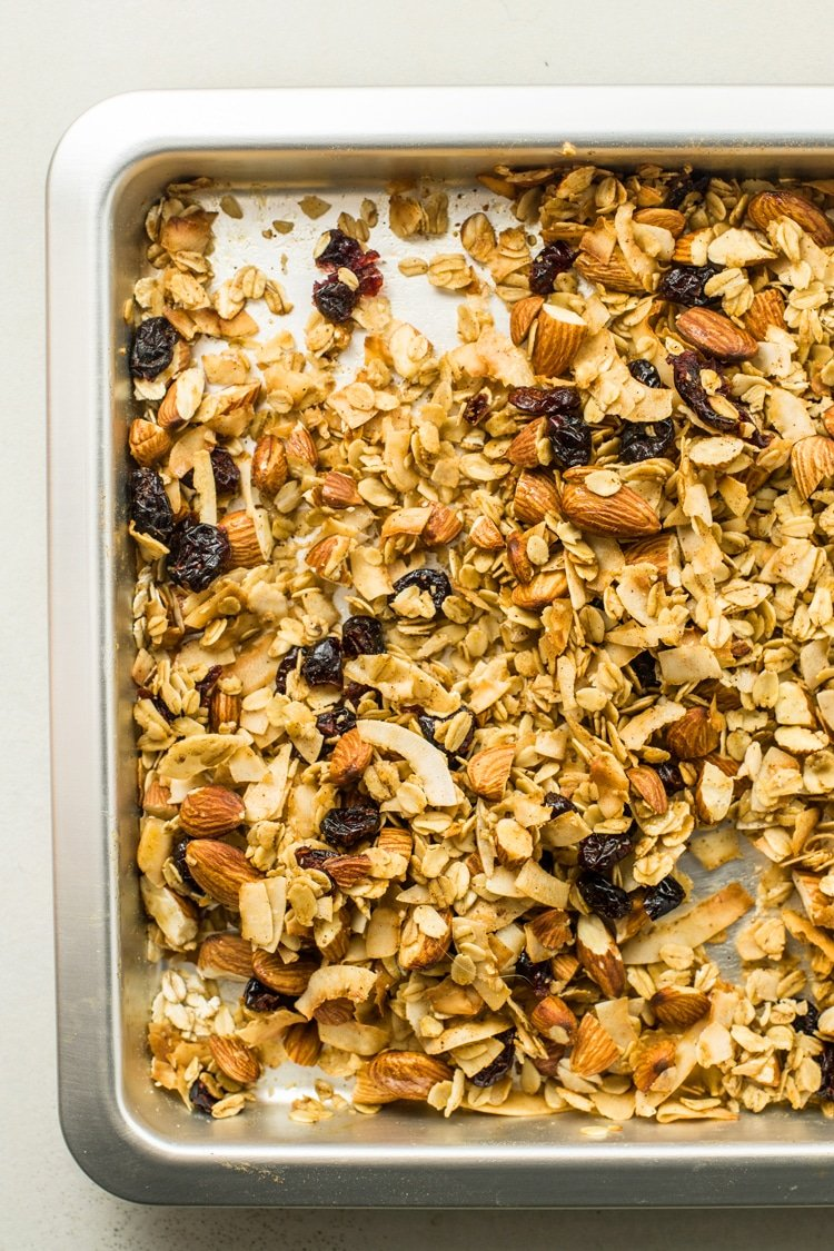 Granola makes a great snack or egg-less breakfast.