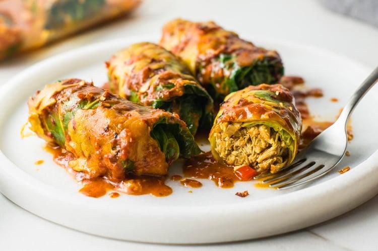 Low-Carb Stuffed Cabbage Enchiladas