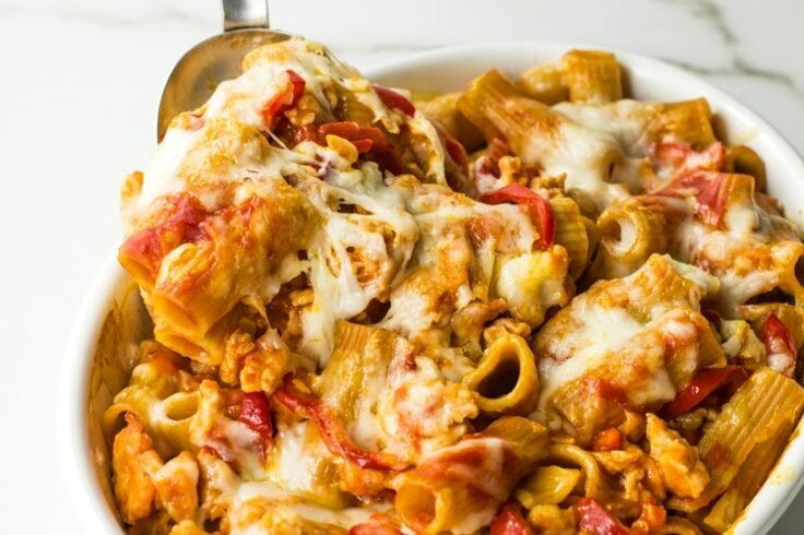 Healthy Baked Rigatoni with Peppers and Sausage