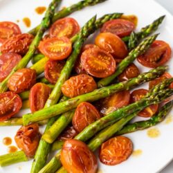 Simple and Elegant Balsamic Asparagus and Blistered Tomatoes