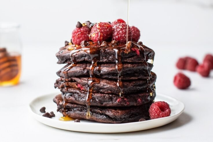 Romantic Chocolate Raspberry Pancakes