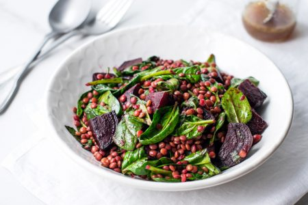 Spinach, Lentil, and Beet Salad with Orange Vinaigrette