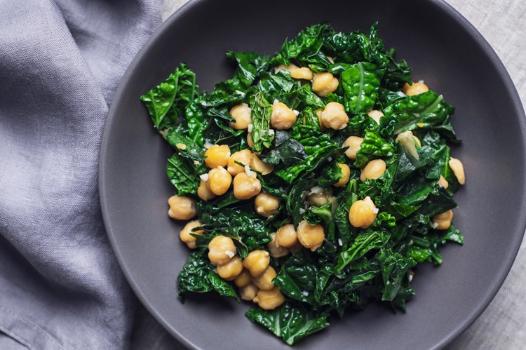 This highly nutritious greens and chickpea salad is an excellent starter!