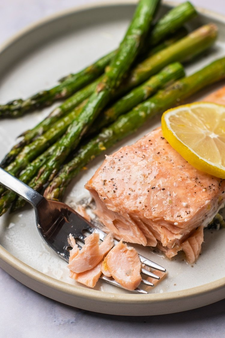 One Pan Lemon Salmon with Roasted Asparagus
